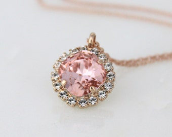 Rose Gold necklace, Blush crystal necklace, Wedding jewelry, Bridesmaid jewelry, Bridal necklace, Crystal necklace, Wedding necklace