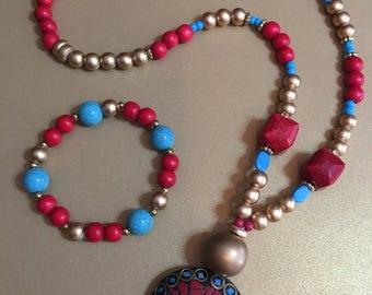 Mosaic Tribal Necklace and Bracelet Set