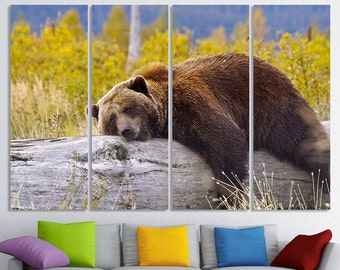 Large Bear Canvas Set Bear Wall Art Multi Panels Set Bear Photo Bear Poster Bear Print Wild Nature Wall Decor Bear Wall Decor Bear Art