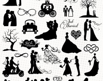 Wedding  - 30 svg/dxf/eps/silhouette studio/png - Silhouettes, cutting files, clipart, vector files - Wedding married heart ring love bride