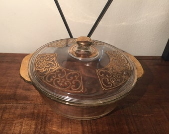Georges Briard Gold flake filigree Fire King 2 qt. covered casserole dish