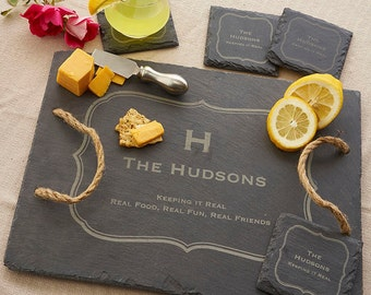 Personalized Slate Tray with Matching Coasters - 3858