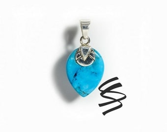 Turquoise Jewelry Natural Stone Silver Necklace Gemstone Sterling Silver Native American Jewelry Turquoise Pendant Turquoise Necklace Blue