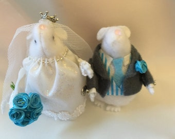 Bride and Groom hamster mice cute wedding decorative ornament