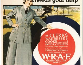 Vintage WW1 Womens Royal Air Force WRAF Recruitment Poster A3/A2/A1 Print
