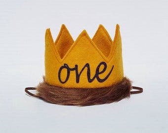 Wild One First 1st Birthday Baby Boy Felt Party Crown for Cake Smash Max Crown Photo Prop Wild Things Theme Party In Mustard Yellow and Fur