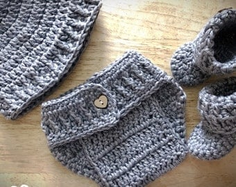 Crochet Baby Outfit - Newborn Girl Coming Home Outfit, Newborn Boy Coming Home Outfit, Newborn Photo Prop, Baby Shower Gift, Newborn Hat
