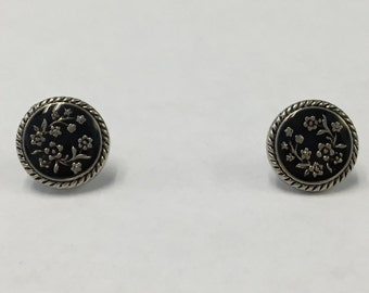 Black with Silver Flowers Earrings