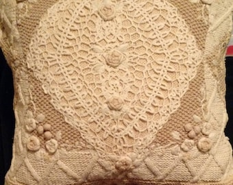 Vintage Knit, Crochet & Embroidered Pillow Upcycled P1103