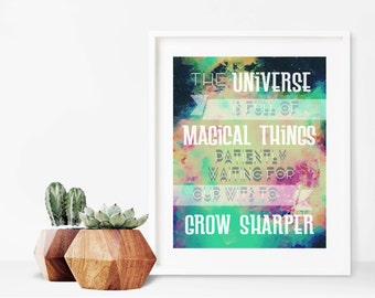 """Watercolor """"The Universe is Full of Magical Things"""" Quote 8x10 to 16x20 Printable   Inspirational   Digital Wall Art Print   Download"""