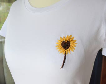 Embroidered T-shirt, Sunflower  T-Shirt, Hand Embroiered Clothing, Organic Cotton T-shirt