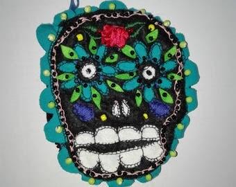 Sugar Skull Wallet Tiny Bag headphones