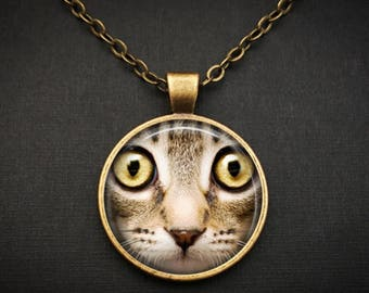 Kitty Face Necklace Cat Jewelry Antique Bronze Necklace - Brown Cat Necklace - Bronze Animal Necklace - Animal Cat Necklace Kitty Jewelry