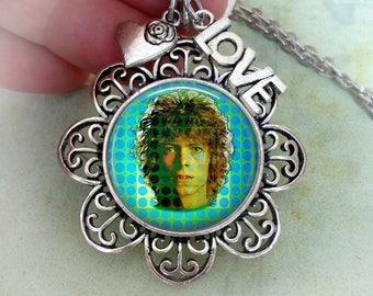 David Bowie Necklace w-Heart and LOVE Charms, Space Oddity, David Bowie Fan Gift, Birthday Gift, Classic Rock Fan, Music Fan, Bowie Rocks