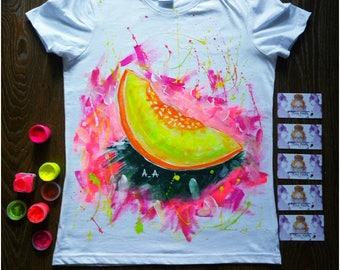 Hand Painted T-Shirts - Vegan Gift - Vegan Shirt - Birthday Gift For Her - Beach Shirt - Summer T-Shirts - Vegan Clothing
