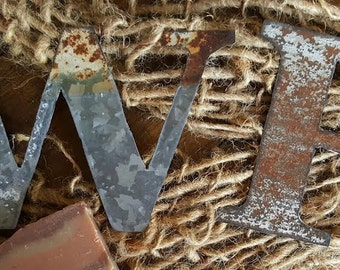 Rustic Tin Letters Rustic Metal Letters  Etsy