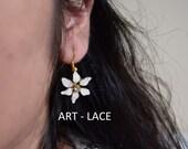 Mother's Day gift Flower earrings Jasmine earrings White Flower earrings Nature earring Cute gift for her Bridal earring Flower Girl earring