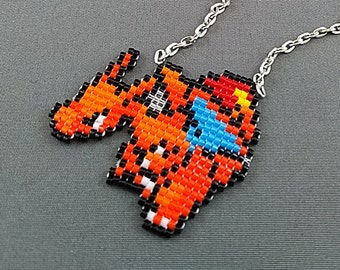 Charizard Necklace - Pokemon Necklace Pokemon Jewelry Pixel Necklace Video Game Necklace 8bit Jewelry Geeky Gifts Anime Necklace