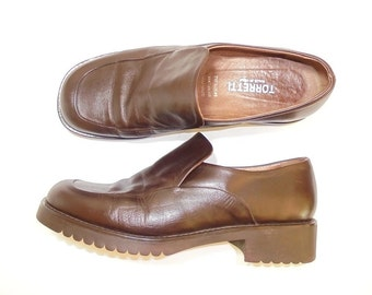 Ladies Vintage Loafers, Italian Leather Shoes, Brown Leather Shoes, Ladies Brown Vintage