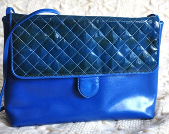 Vintage faux leather bag, 1980s womens bag, blue shoulder bag, vegan bag
