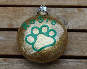 Personalized Glass Dog Ornament Gold Glitter and Green Paw, Cat Ornament, Pet Ornament, Custom Christmas Dog Ornament, Christmas Cat
