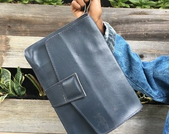 Navy Leather Wristlet Clutch