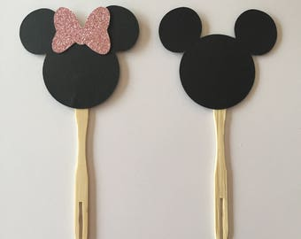 Mickey Mouse and Minnie Mouse with pink glitter bow cupcake toppers or appetizer picks (set of 12)