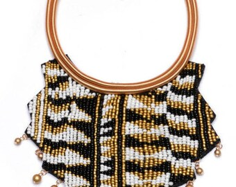 African Tribal Inspired Beaded Bib Necklace NK7006