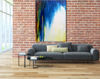 ORIGINAL ABSTRACT PAINTING Custom Un-stretched Canvas Painting Teal Painting Art Blue Abstract Canvas Art Modern Art Oil Painting
