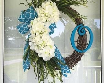 Hydrangea Spring Wreath Summer Wreath Monogram Wreath