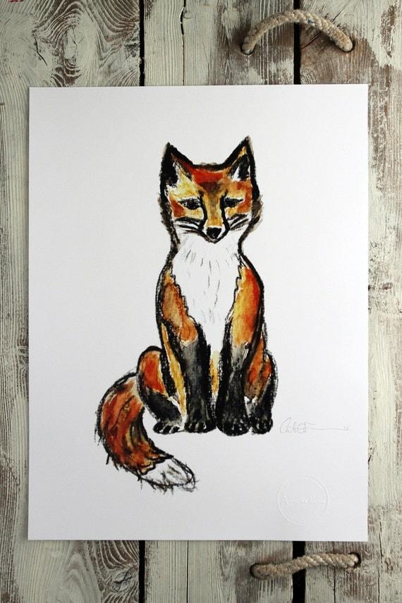 LITTLE FOX SITTING - water-colour print