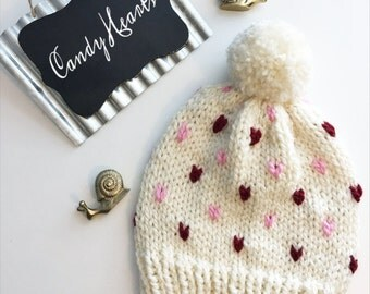Candy Hearts Slouchy Beanie