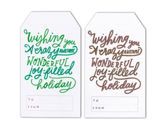 Set of 3 Large Gift Tags - Wishing You an Awesome Holiday - Metallic or Various Colours - Gift Tags - Hand Made