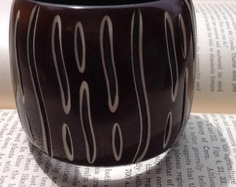 Vintage Brown Carved Lucite Chunky Bangle Bracelet