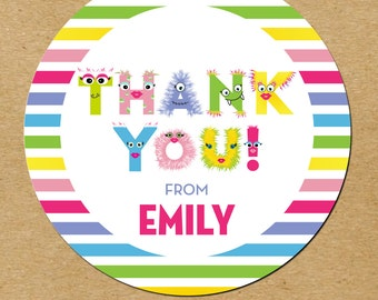 Monster Party Thank You Stickers, Monster Birthday Stickers, Monster Favor Stickers