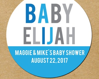 Boy Baby Shower Favors, Blue Baby Shower Favor Stickers, Custom Baby Shower Favors, Baby Boy Shower Stickers