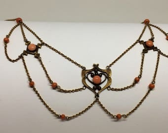 Victorian Coral and Gilded Festoon Necklace-REDUCED