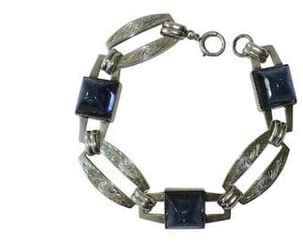 NAPIER Art Deco Sterling Silver High Dome Sapphire Glass Link Bracelet, SCARCE