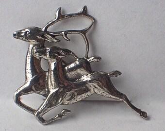Danecraft Sterling 1940's Leaping Reindeer Brooch, SCARCE