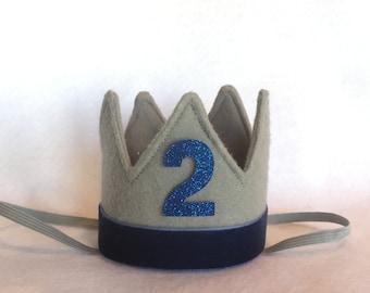 Royal Prince Birthday Crown, Boys First Birthday Crown, Gray Felt Birthday Crown, Cake Smash Crown, Glitter Crown, Felt Birthday Crown,