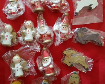 15 Vintage Wooden Christmas Ornaments In Single Packs New Old Stock Wood Santa's Angels Reindeer Bells
