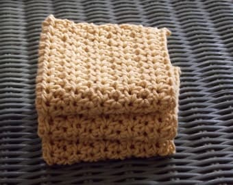 100% Cotton Crochet Dish Cloth - - Set of 3 - Mustard Yellow - 7 x 7