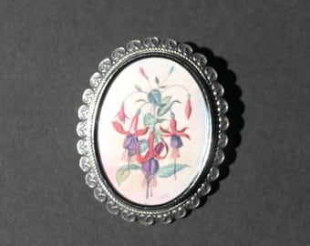 TLM Thomas L Mott vintage flower brooch Made in England with fuschias