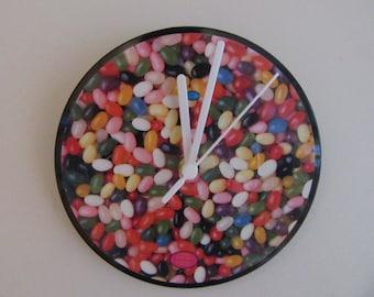 Jelly bean vinyl picture disc clock