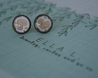 Glass earrings - heart earrings - girls earrings - girls stud earrings - teenager stud earrings - cabochon earrings - cabochon jewelry