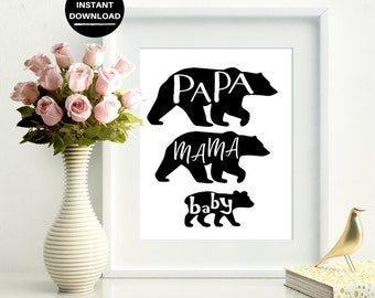 Mama Papa Baby Bear Silhouette Design Digital Print | Instant Download | Instant Printable Wall Art | Home Decor | Word Art | Typography Art