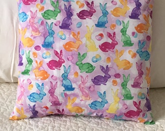 Watercolor Bunnies - Pillow Cover - Easter - Swappillow Covers - Gift - Envelope Closure - Decorative Pillow Cover - 16x16 - Spring