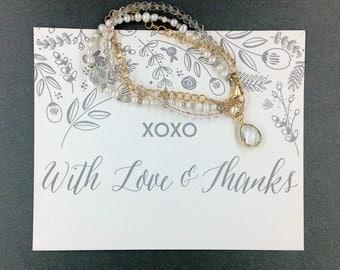 Triple Strand Pearl & Crystal Bridesmaid Gift Jewelry Bracelet, Maid of Honor Gift Jewelry Bracelet, Mother Bride Gift Jewelry Bracelet