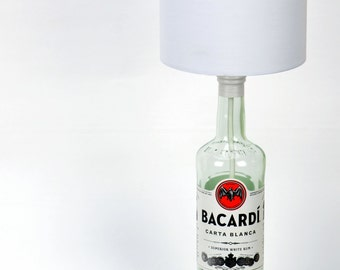 Mother's Day Gift - Upcycled - Bottle Lamp - Bacardi Rum - Table Lamp - Gift for Her - Wedding Gift - Birthday Present