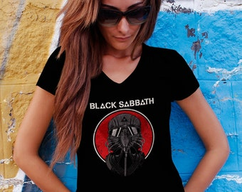Black Sabbath Women T-shirt Black Sabbath V Neck  Tshirt Black Sabbath Women Shirt Black Sabbath Tee Rock T-shirt Model 10